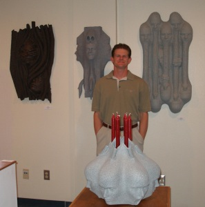 Christopher Homulka with his work